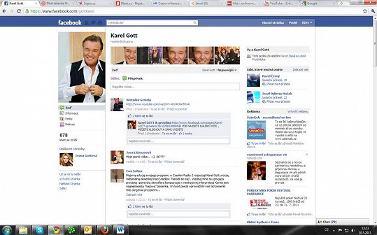 Facebook profil Karla Gotta.