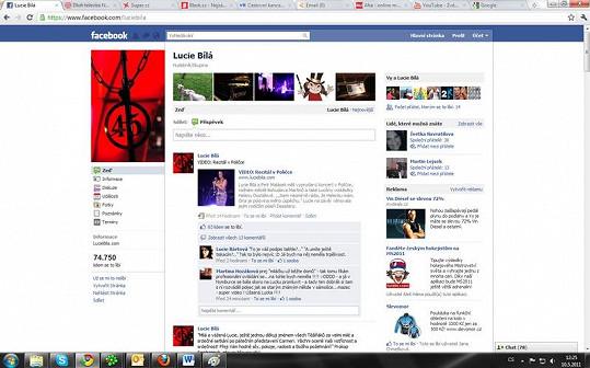 Facebook profil Lucie Bílé.