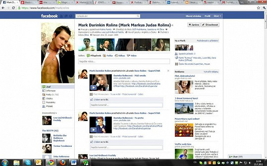 Profil fanouška slovenské zpěvačky na sociální síti je výmluvný.