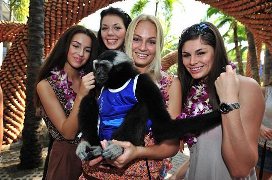 Finalistky se zamilovaly do přátelské opičky.