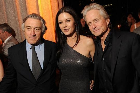 Slavní manželé s hereckým kolegou Robertem De Nirem.