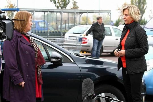 Miluše Šplechtová na natáčení s Jitkou Smutnou.