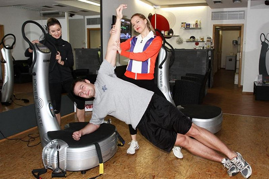 Kateřina Kristelová a Martin Tůma při cvičení.