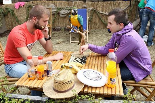 Šachovou partii sledoval i kamarád kapely papoušek.