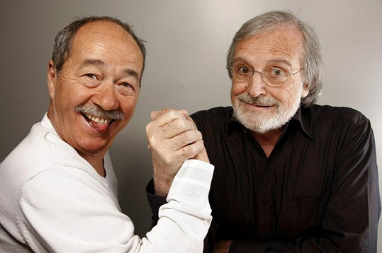 Gérard Rinaldi (vpravo) s kolegou ze skupiny Les Charlots Jeanem Sarrusem.