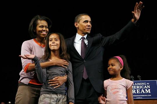 Rodina před čtyřmi lety, kdy se Barack Obama stal poprvé prezidentem USA. Malii (vlevo dole) bylo v té době deset let.