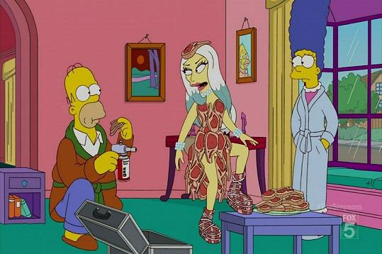 Zpěvačka se objevila ve svém slavném masovém kostýmu v seriálu Simpsonovi.