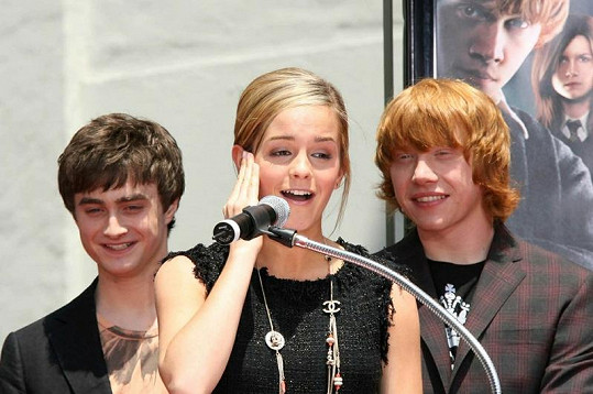 Daniel Radcliffe, Emma Watson a Ruppert Grint.