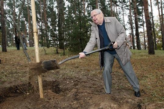 Osmdesátník Suchý sázení svého stromu na Stezce osobností neflákal.