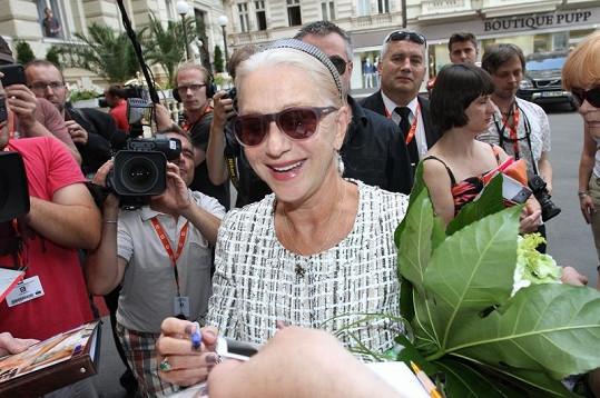 Helen Mirren dorazila na karlovarský festival.