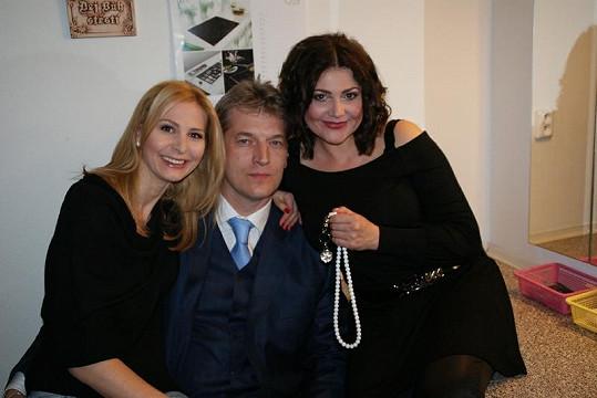 Ivana Gottová, Radek Voneš a Ilona Csáková před koncertem.