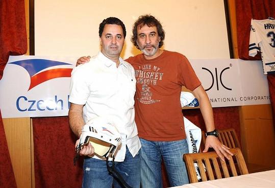 Martin Dejdar a David Suchařípa na tiskové konferenci HC Olymp
