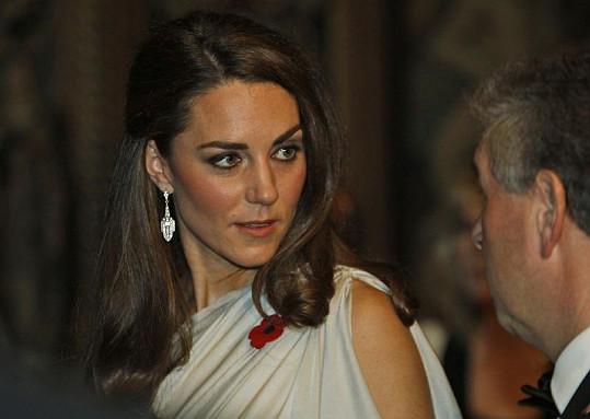 Kate v elegantní stříbrné róbě.