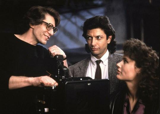 Goldblum a Davis s režisérem Mouchy Davidem Cronenbergem.