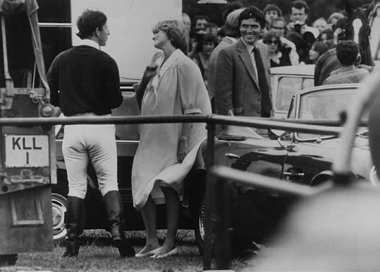 Diana s Charlesem na zápasu v pólu.