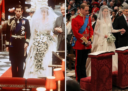 Vlevo na svatebním snímku z roku 1981 princ Charles s Dianou, vpravo princ William s Kate Middleton.