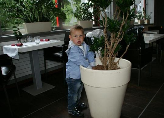 Daniel je malý nezbeda. Květináč nemohl nechat na pokoji.