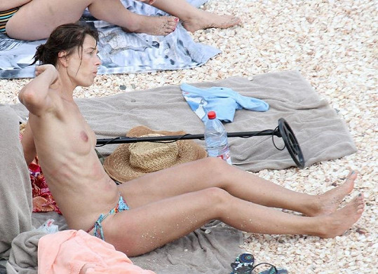 Pavlína Pořízková na pláži v Karibiku.