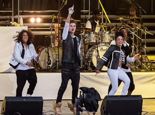 Bieber během svého koncertu v norské metropoli.