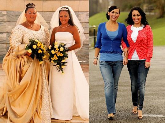 Sarah Hart jako nevěsta vedle své sestry Amandy před dvěma lety a dnes.