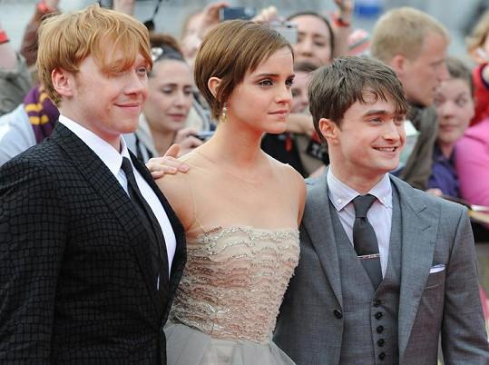Rupert Grint, Emma Watson a Daniel Radcliffe.