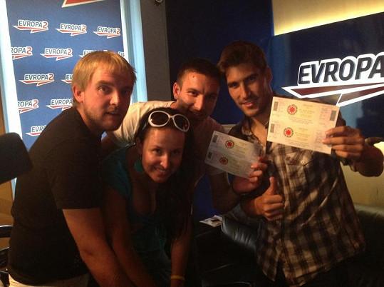 Libor Bouček, Lucie Šilhánová, Petr Koukal a David Svoboda v rádiu Evropa 2.