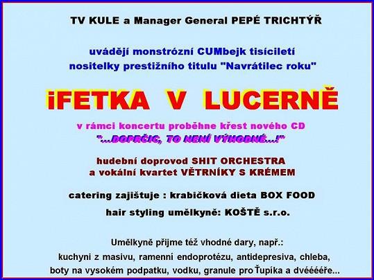 Takhle měl vypadat plakát na Lucernu Ivety Bartošové!