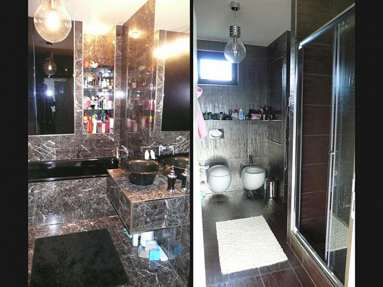 Koupelna je z luxusních materiálů.