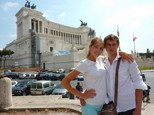 Denisa s přítelem Petrem v Římě.