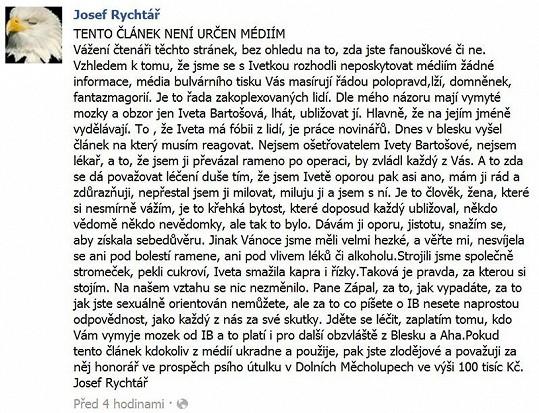 Po informaci o tomto Rychtářově prohlášení se měla jeho žena Darina sesypat.