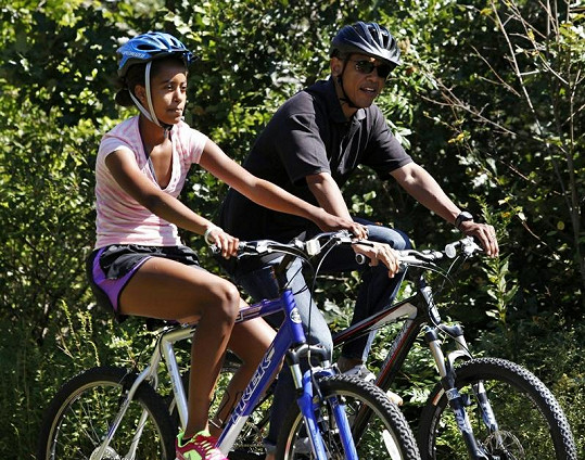 Obama s dcerou Maliou.