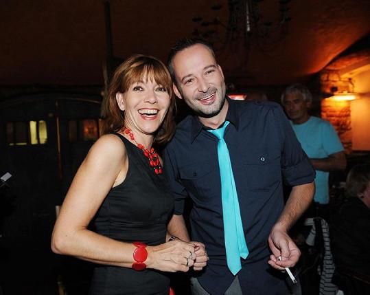 Michaela Dolinová s Cibulkovým partnerem Michalem Jagelkou.
