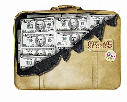 """Dolarové bankovky v """"roztrhaném"""" kufru."""