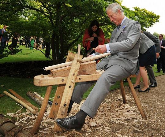 Princ se snažil opracovat dřevo.