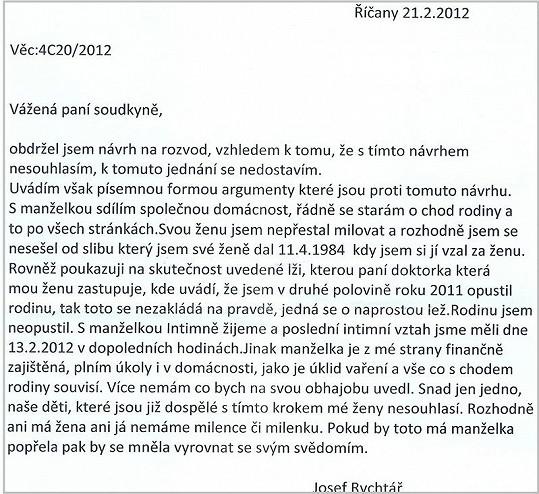 Dopis, který Rychtář zaslal rozvodovému soudu.