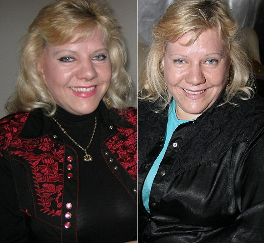 Marie Pojkarová s make-upem a bez něj.