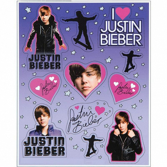 Samolepky s Justinem Bieberem.