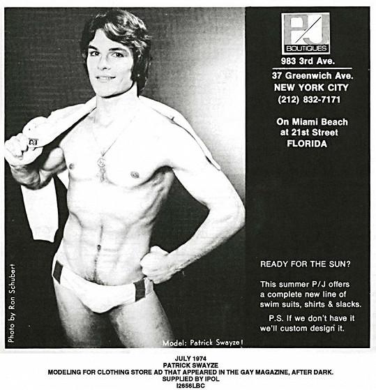 Patrick Swayze v reklamě na spodní prádlo z roku 1974.