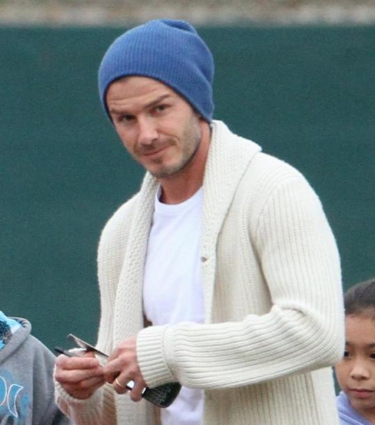 David Beckham měl výbornou náladu.