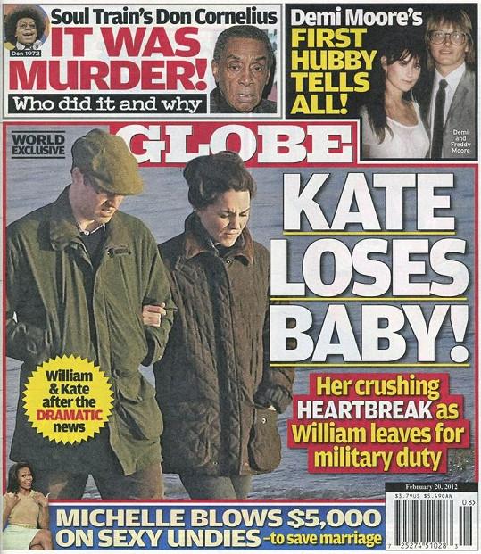Americký magazín Globe tvrdí, že Kate údajně přišla o miminko.