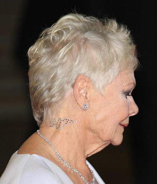 Judi Dench měla speciálně na londýnskou premiéru zajímavou ozdobu na krku - diamantový nápis 007.
