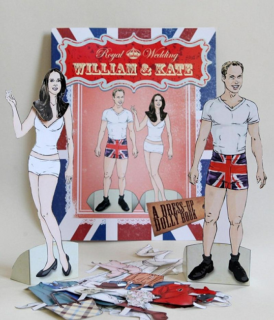 William a Kate jako papírové panenky k oblékání.