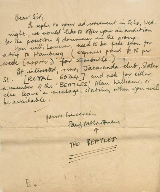 Dopis Paula McCartneyho nejmenovanému bubeníkovi.