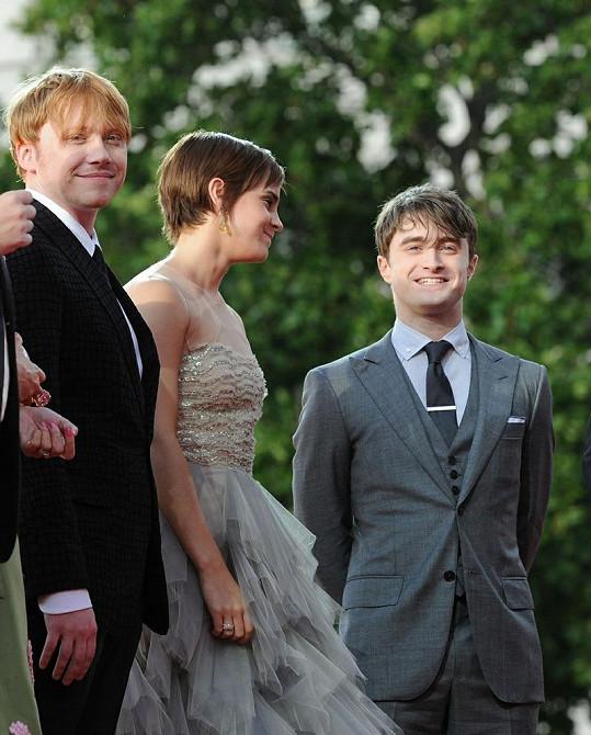 Slavná trojice Rupert Grint, Emma Watson a Daniel Radcliffe (zleva).