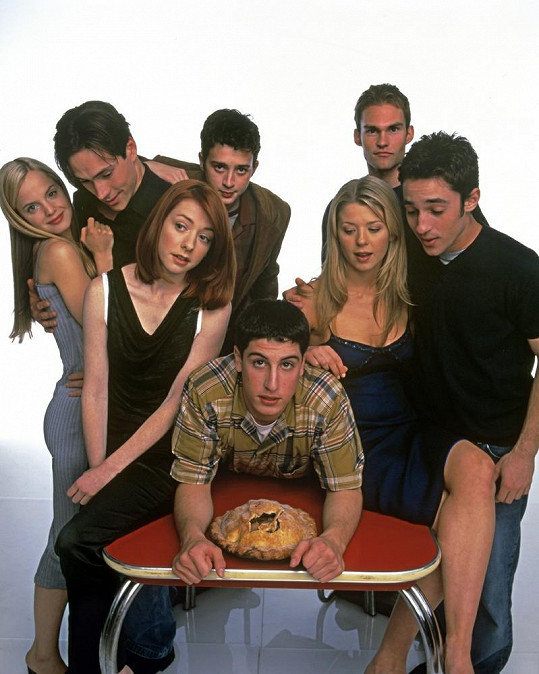 Alyson Hannigan se svými hereckými kolegy z komedie Prci, prci, prcičky.