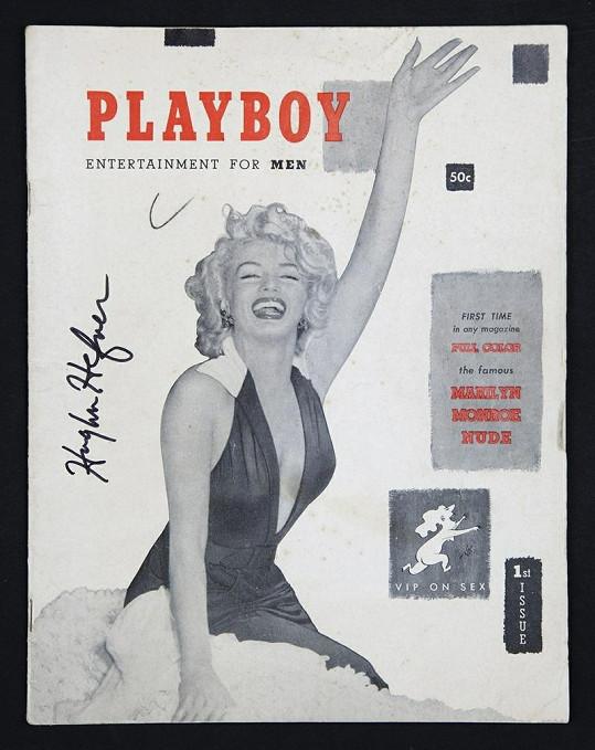 Výtisk z prosince 1953 s Marilyn Monroe na titulní straně. Tento je rovněž s podpisem Hugha Hefnera.
