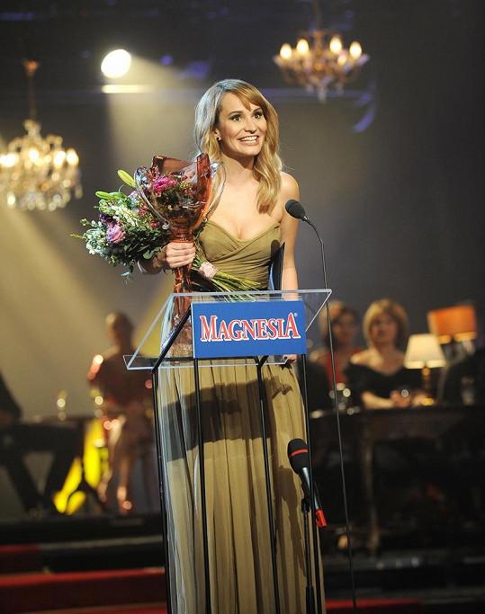 Monika Absolonová při děkovné řeči.