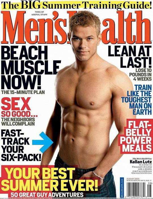 Kellan na titulce pánského magazínu Men's Health.