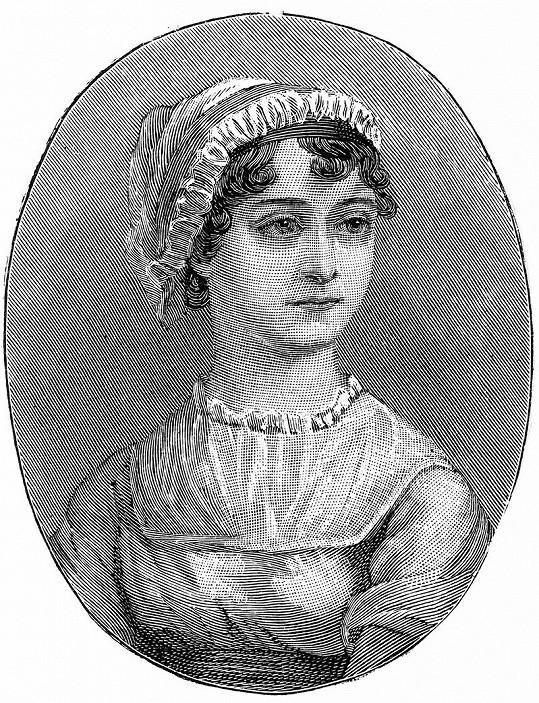 Jane Austen na dobové rytině.