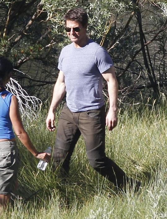 Tom Cruise v polovině července během natáčení filmu Oblivion.